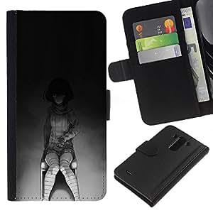 JackGot ( Creepy Chica Emo ) LG G3 la tarjeta de Crédito Slots PU Funda de cuero Monedero caso cubierta de piel