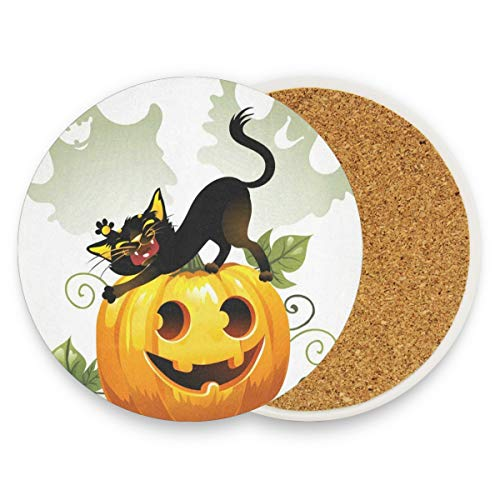 Black Cat On Halloween Pumpkin And Ghost Coasters, Prevent Furniture From Dirty And Scratched, Round Cork Coasters Set Suitable For Kinds Of Mugs And Cups, Living Room Decorations Gift Set Of 4 for $<!--$20.99-->