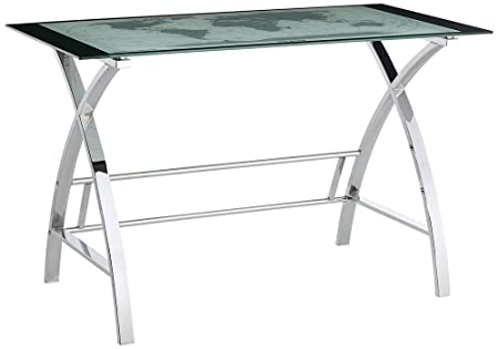 Powell 942-240 World Map Printing Curved X-Sided Computer Desk