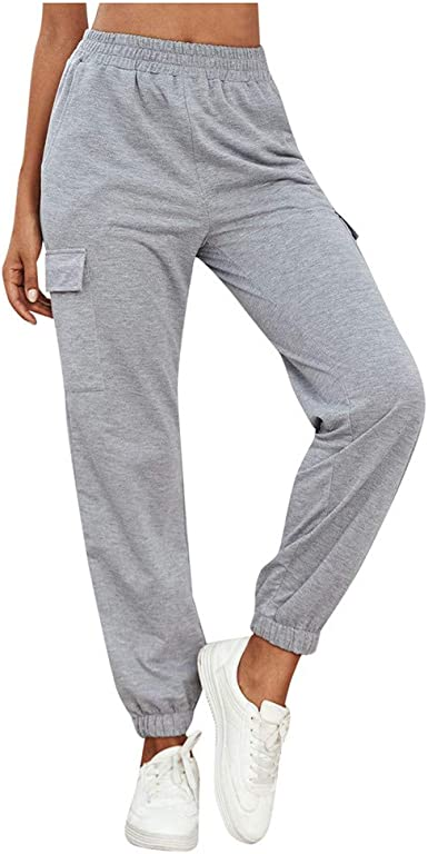 beautyjourney Pantalones de Chándal de Color Liso para Mujer ...