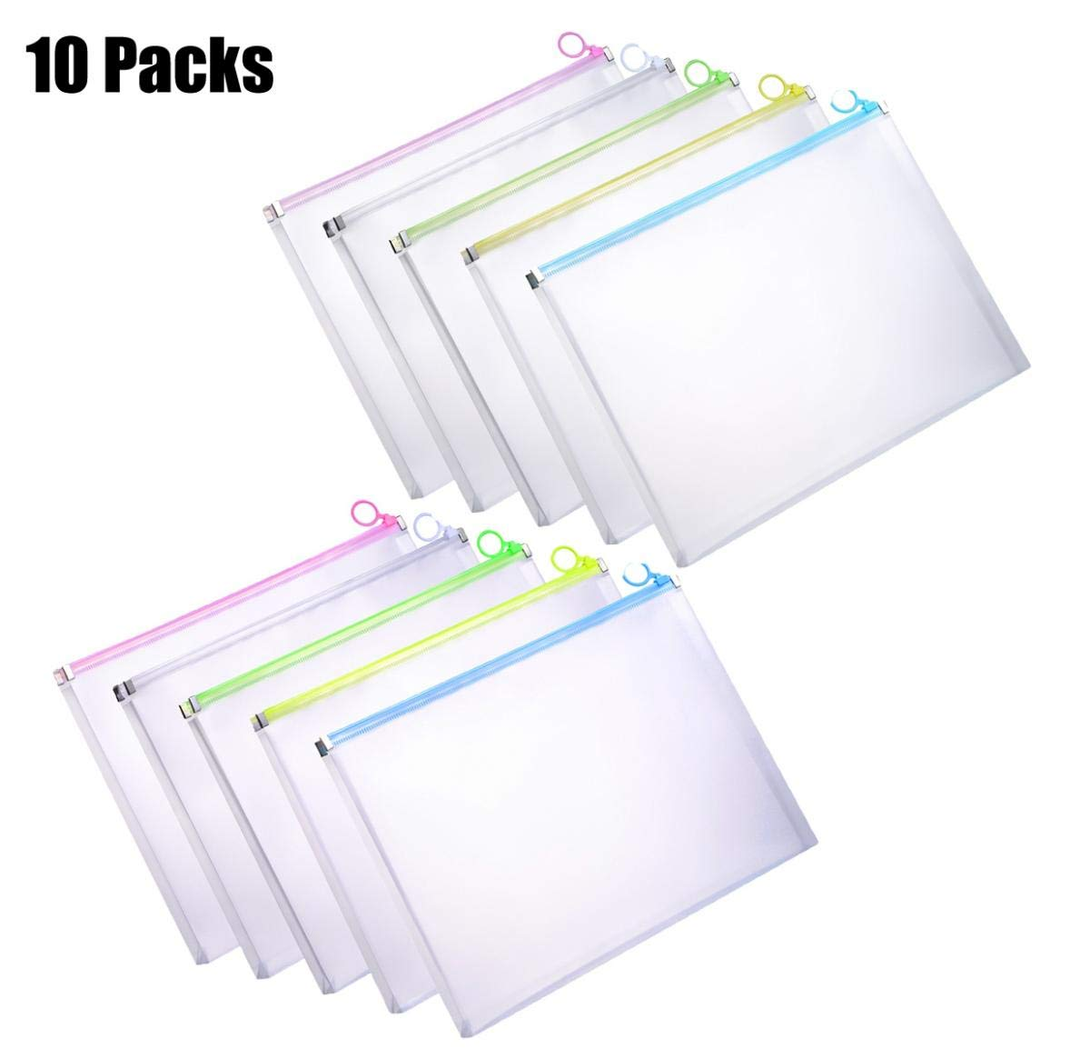 YoeeJob 10 PCS Translucent Poly Envelopes with Colored Zipper Closure,1 Inch Gusset Plastic Zip File Document Folder US Letter Size,Assorted