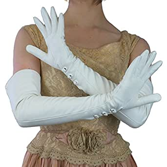 "Opera Length 16"" Italian Leather Gloves with 3 Buttons At the Wrist. By Solo Classe (6.5, White)"
