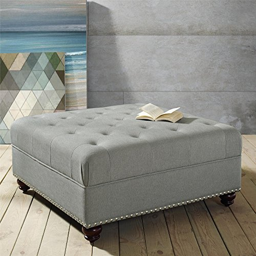 Dorel Living Hastings Tufted Ottoman with Nailheads, Gray