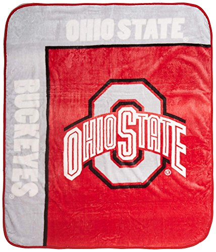 (Officially Licensed NCAA Ohio State Buckeyes School Spirit Plush Raschel Throw Blanket, 50