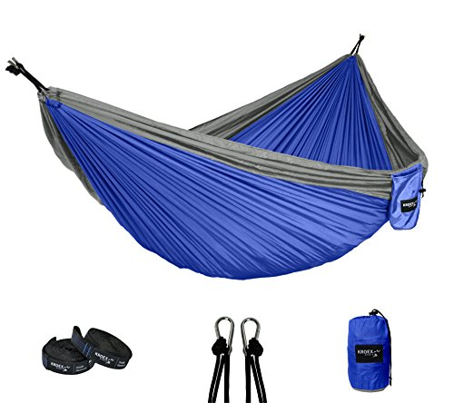 Double Camping Hammock With Tree Straps and Carabiners- Lightweight Portable Parachute Nylon for Backpacking, Recreation, Beach, Travel, Yard. (Blue/Grey)