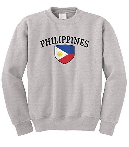 (Cybertela Philippines Flag Crest Shield Crewneck Sweatshirt (Light Gray, Small))