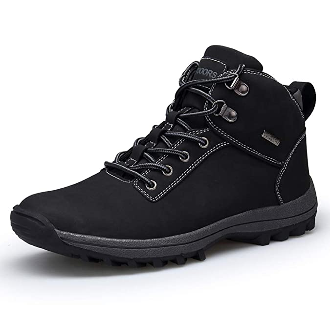 GOUPSKY Men's Winter Snow Boots Waterproof Non-Slip Lace-up Leather Outdoor Shoes for Hiking, Backpacking, Insulated All Weather Warm Mid Ankle Bootie Black