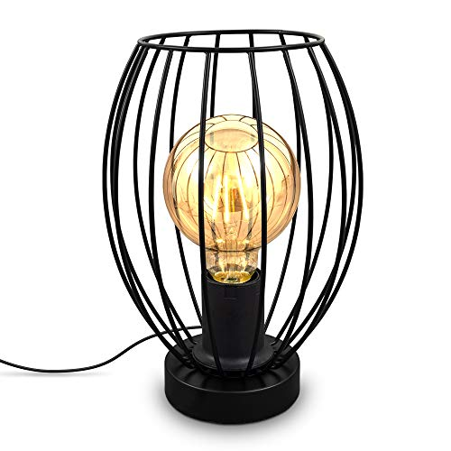 B.K.Licht I Tafellamp I E27 I Kabelschakelaar I 1 lichts vintage tafellamp met metalen kap I Hoogte 25,6 cm I Zwart I…