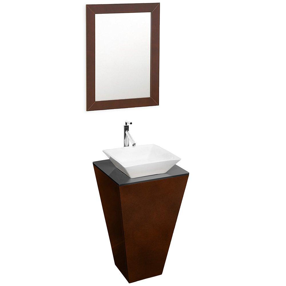 Wyndham Collection Esprit Pedestal Bathroom Vanity With Smoke Glass