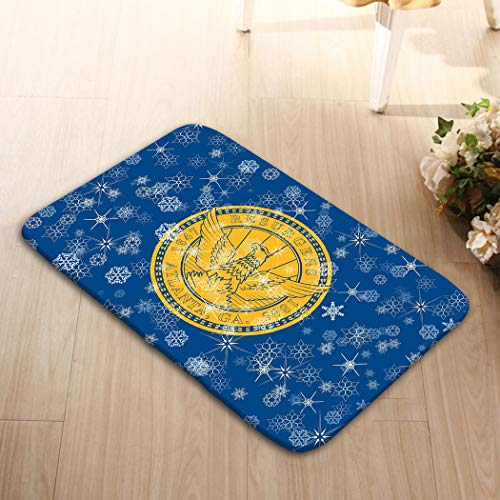 YILINGER Home Decorator Floor Mat Non-Slip Carpet 23.6x15.7 Atlanta Georgia Winter Snowflakes Flag United States America Winter Motive Atlanta Georgi