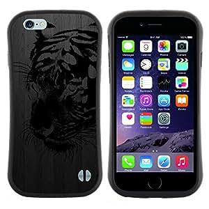 "Pulsar iFace Series Tpu silicona Carcasa Funda Case para Apple (4.7 inches!!!) iPhone 6 Plus / 6S Plus ( 5.5 ) , Tigre Negro metal cepillado Street Art Graffiti"""