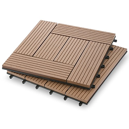 Garden Winds DT03-02DT Six Slat Composite Deck Tiles, Classic, 10 Count 10 Deck Tiles