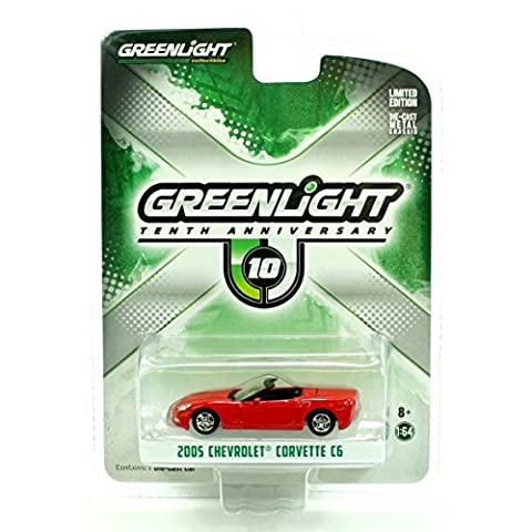 2005 Chevrolet Corvette C6 Red 10th Greenlight Anniversary Collection 1/64 by Greenlight 29789 (C6 Corvette Toy)