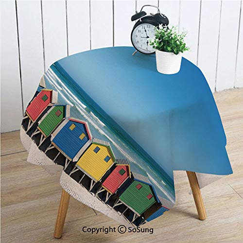 Travel Square Polyester Tablecloth,Colorful Bathhouses at Muizenberg Cape Town South Africa Standing in a Row Touristic,Dining Room Kitchen Square Table Cover,34W X 34L inches,Multicolor (South Covers Patio Chair Africa)
