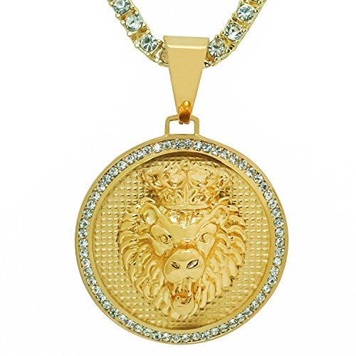 Stainless Steel Yellow Gold-Tone Iced Out Hip Hop Bling Crowned Lion Head Medallion Pendant With 1 Row Stone Tennis Chain 16