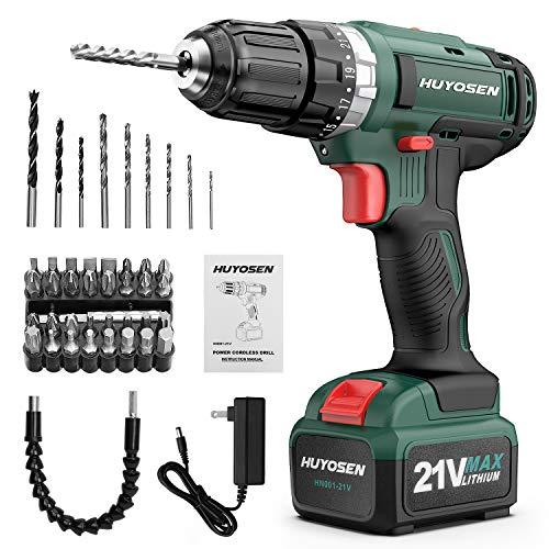 HUYOSEN Cordless Drill Driver 21V Max Impact Drill,Professional Electric Drill 23+1+1+1 Torque Setting Battery Drill…
