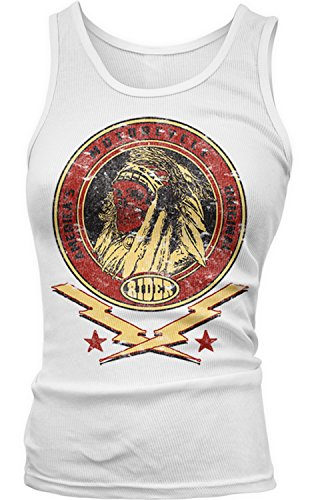 Amdesco Junior's America's Original Motorcycle Indian Skull Tank Top, White Small Boy Beater Womens Tank Top