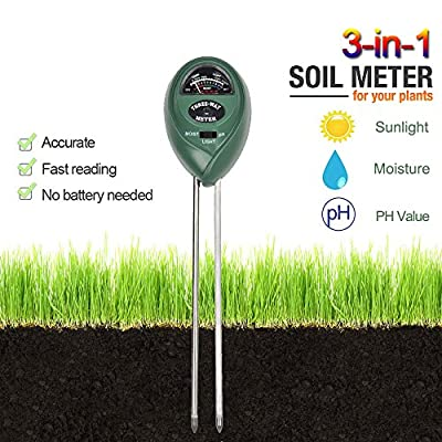 3-in-1 Soil Tester Kits, Soil Meter for Moisture, Light and pH / acidity Meter Plant Tester,Easy to Use and Fast Read, No Battery needed
