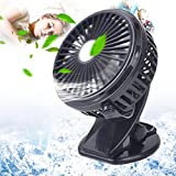 Clip Fan Battery Usb Camping Desk Portable Suitable For Baby Stroller, Gym Workout, Car Backseat, Outdoors, Camping, Trips,etc