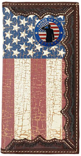 Flag Long Wallet - Custom Proud to be A Veteran. American Flag Long Wallet with Distressed United States Flag