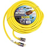 U.S. Wire 100 Ft. Single Tap Extension Cord w/ Lighted Ends, 10/3 Ga. SJWT-A, 300V, Yellow