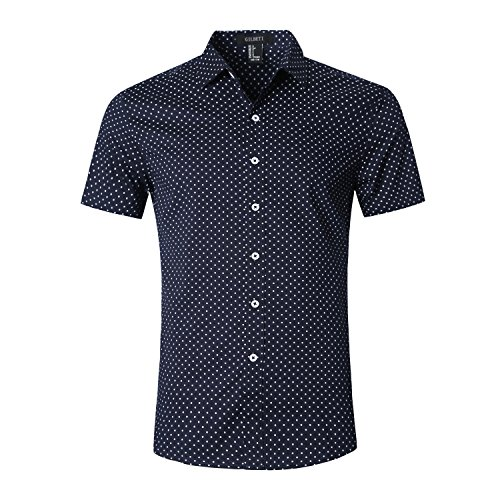 GILBETI Men's Casual Dress Cotton Polka Dots Short Sleeve - Online Lf Dresses