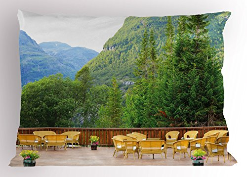 Norway Match (Travel Pillow Sham by Lunarable, Tables and Chairs of Outdoor Restaurant in Norway Mountains Nature Art, Decorative Standard Queen Size Printed Pillowcase, 30 X 20 Inches, Green Mustard Brown)
