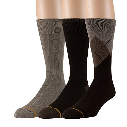 - Gold Toe Men's Cotton 3 Pack Dress Socks Solid Argyle Striped Shoe Size 6-12 (Brown (A) 3 Pair)
