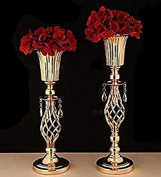 anniversaire couleur 2X51cm d/écoration de base pour f/ête support de vase de fleurs dor/ées /év/énement LANLONG Lot de 2 centres de table de mariage en m/étal pour table de r/éception