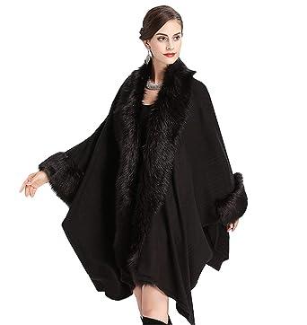 cd598c01fcec6 Women Luxury Bridal Stripe Knit Cardigan Faux Fur Shawl Wraps Cloak Coat  Sweater Autumn Winter Wedding Cape at Amazon Women s Coats Shop