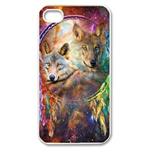QSWHXN Customized Print Wolf Dream Catcher Pattern Back Case for iPhone 4/4S