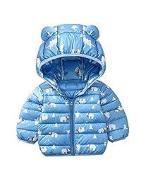 FEOYA Baby Kids Winter Warm Coat Cute Down Hooded Jacket Windproof Zipper Outerwear
