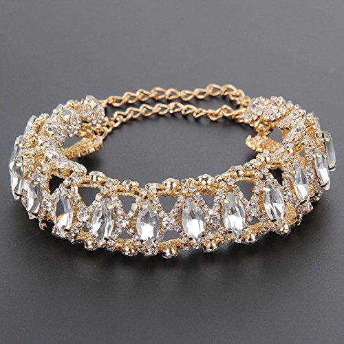 tylish Full Diamond Crystal Choker Collar Necklace/ Necklace (A, Gold) (Gold Diamond Clasp)