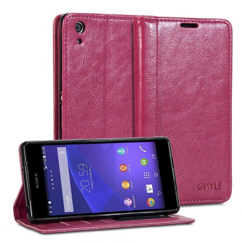 Sony Xperia Z2 Sirius, GMYLE Wallet Case Simple for Sony Xperia Z2 Sirius - Rose Red Crazy Horse Pattern PU Leather Protective Flip Folio Slim Fit Wallet Stand Case Cover (with Card Slots and Money Pocket)