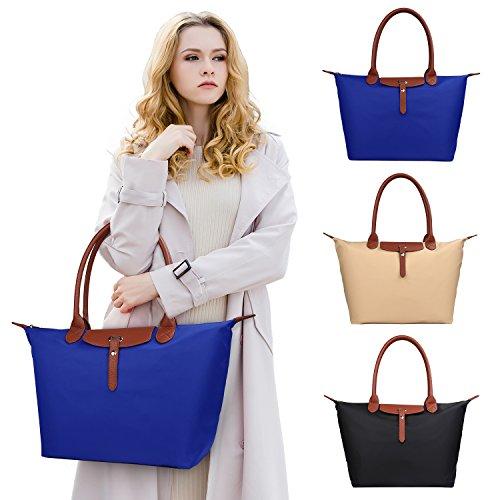 ZTOZ Women's Stylish Waterproof Tote Bag/Nylon Travel Shoulder Handbag/Beach Bags (BLUE) by ZTOZ