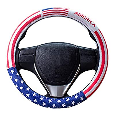 Charrost Steering Wheel Cover,American Flag Plush Auto Car Steering Wheel Cover Universal 38cm/15,Comfortable Driving(US Flag): Automotive