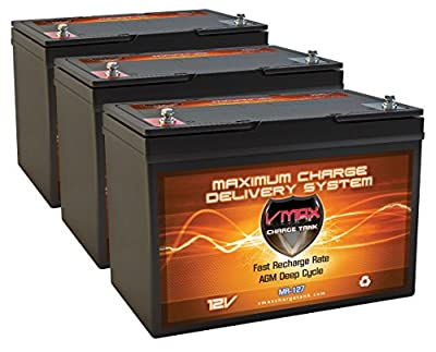 QTY3 VMAX MR127-100 12V 100AH AGM Deep Cycle Group 27 Batteries for Minn Kota Ultrex 112/US2 w/i-Pilot & Bluetooth 36V 112lb Trolling Motor