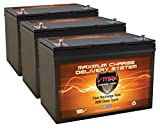 QTY3 VMAX MR127-100 12V 100AH AGM Deep Cycle Group 27 Batteries Compatible with Minn Kota Ulterra 112/US2 36V 112lb Trolling Motor