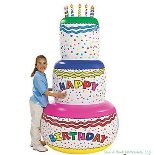 Blow Up Inflatable Happy Birthday Cake Inflate 6 FOOT TALL Party Decoration