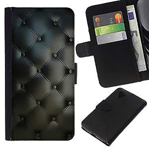 KingStore / Leather Etui en cuir / LG Nexus 5 D820 D821 / Material de Dise?o Textil Gris Interior Botones