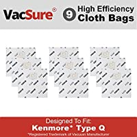 Kenmore Genuine HEPA Cloth Canister Vacuum Bags Type Q - (9 Bags) By VacSure