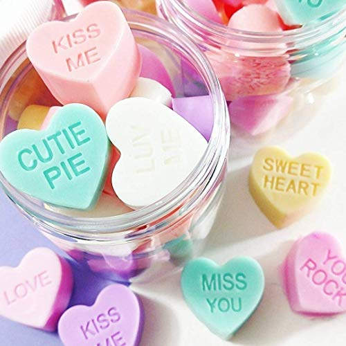 (Valentines Day Gift for Her Pastel Conversation Heart SOAP in a Jar. Fast shipping to your Valentine)