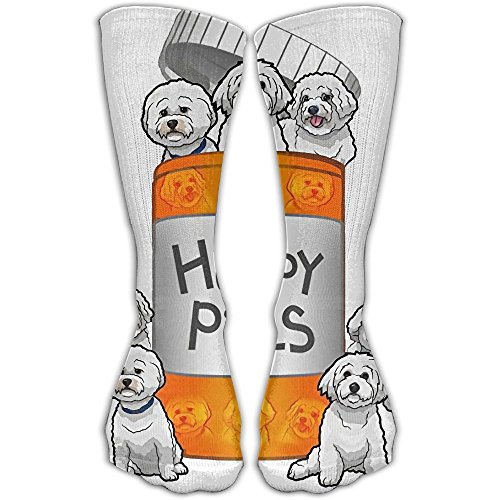 Christmas Stocking Bichon (Bichon Frise Happy Pills Personalized Socks Sport Athletic Stockings 30cm Long Sock For Men Women)