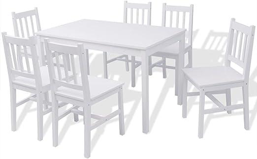 Fesjoy Juego de Comedor Mesa Puesta Mesa de Comedor y 6 sillas. Conjunto de Muebles de Exterior de Madera de Pino al Aire Libre Conjunto de sillas de jardín de Madera Blanca: