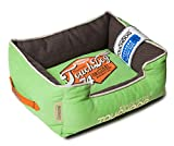 TOUCHDOG 'Sporty Vintage' Original Throwback Reversible Plush Rectangular Pet Dog Bed, Medium, Mint Green, Mud Brown For Sale