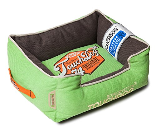 TOUCHDOG 'Sporty Vintage' Original Throwback Reversible Plush Rectangular Pet Dog Bed, Medium, Mint Green, Mud Brown Review