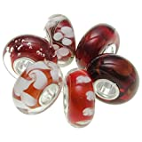6 pcs 925 Sterling Silver Assorted Red And White Flower Blossom Glass Bundle Round Bead For European Charm Bracelet
