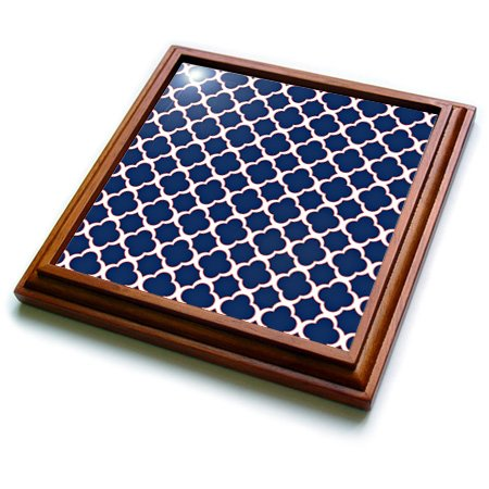 3dRose trv_165919_1 Quatrefoil Pattern Navy Blue & White with Red Accent Trivet with Ceramic Tile, 8 by 8