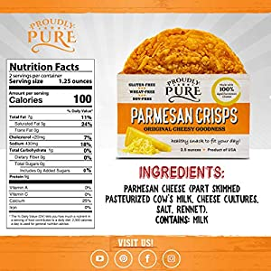 Keto Friendly Snacks Parmesan Cheese Crisps Low Carb Healthy Diet Food Crackers 100 Natural Aged Cheesy Parm Chips Crunchy Delicious Glutenwheat Soy-free Variety Pack 10oz 4 Pk from Proudly Pure