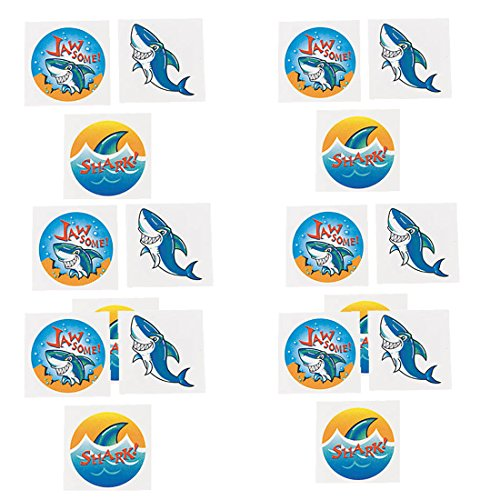 Shark Party Favors for 12 - Shark Tooth Toy Necklaces (12), Shark Tattoos (36), a Shark Birthday Sticker and 12 Shark Squirt Toys (Light Blue) by PartiFun (Image #3)